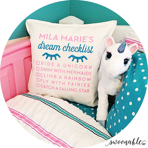 "Magical ""Dream Checklist"" Custom 20"" x 20"" Pillow Cover"