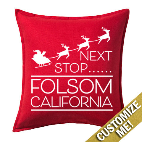 """Next Stop"" Santa Custom 20"" x 20"" Pillow Cover"