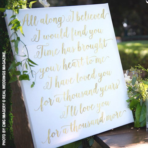 Custom Lyric Canvas - AS SEEN IN REAL WEDDINGS MAGAZINE!
