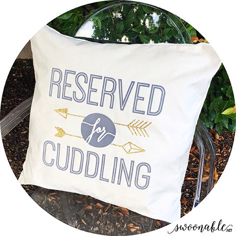 """Reserved for Cuddling"" 20"" x 20"" Velvet Pillow Cover"