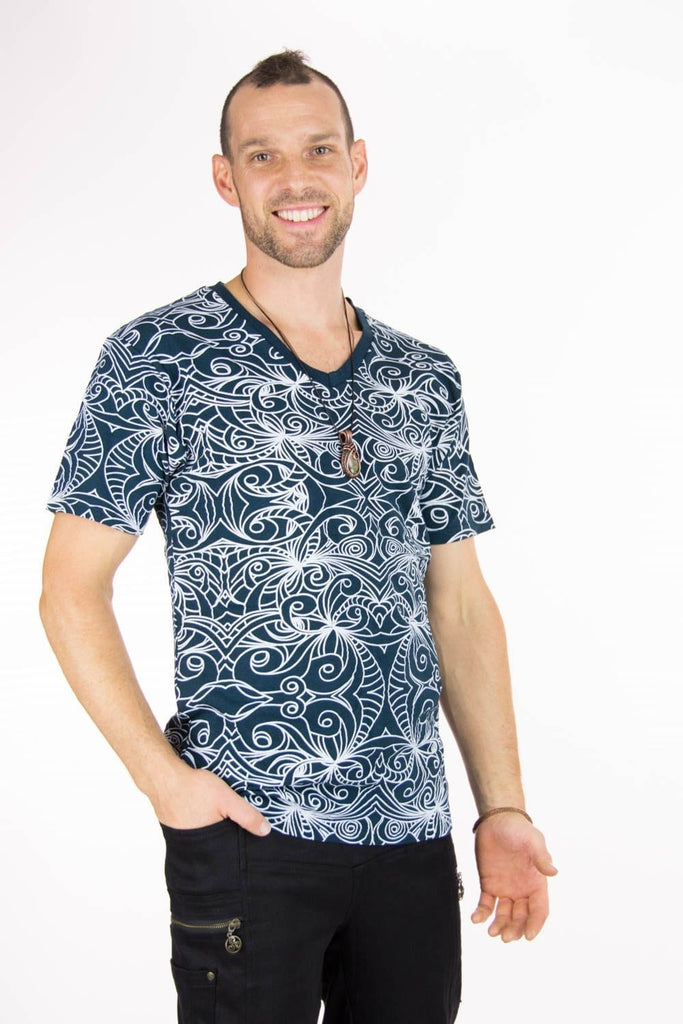 Indivar V-Neck Tee with Pattern Print