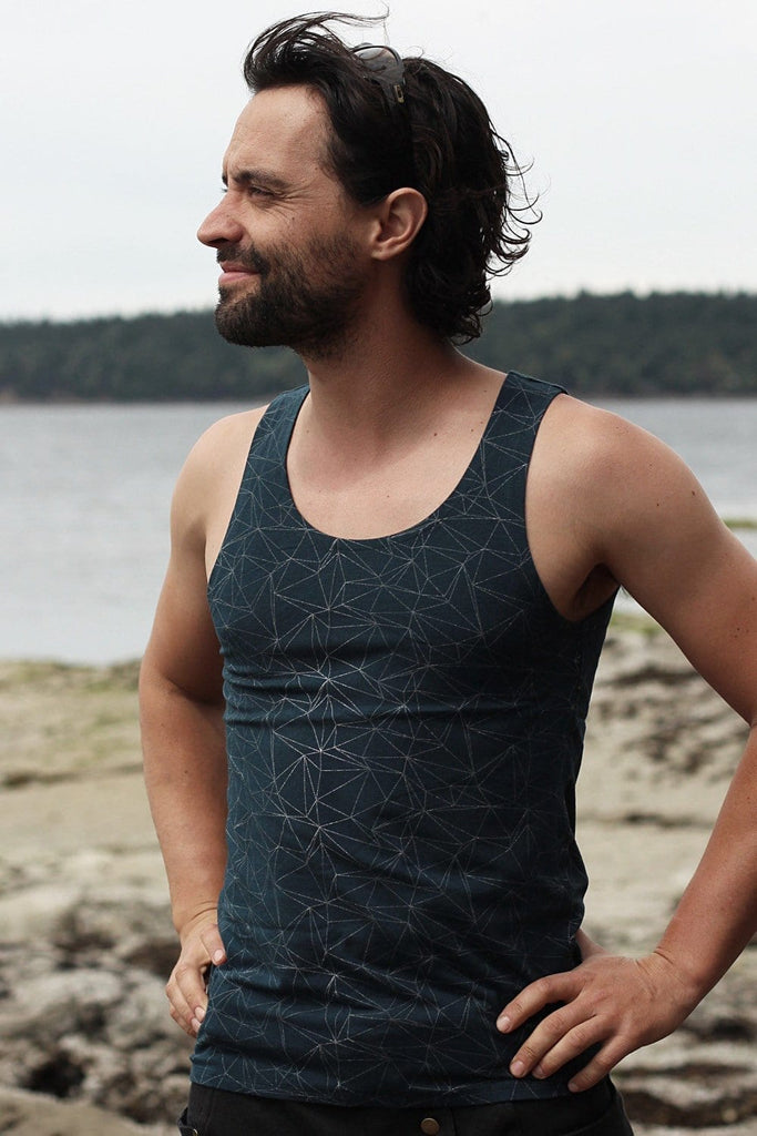 Men's Sailor Tank with Silver Jewel Origami Print