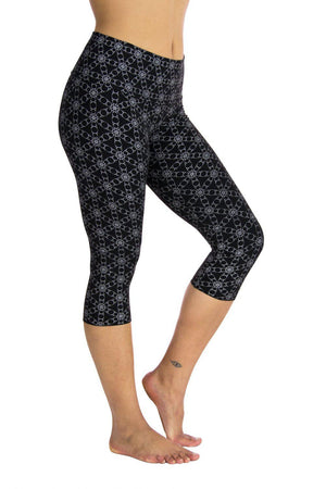Ananda Yoga Tights with Silver Circle Flower of Life Print