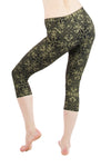 Malaya Yoga Tights with Gold Jewelled Lotus Print