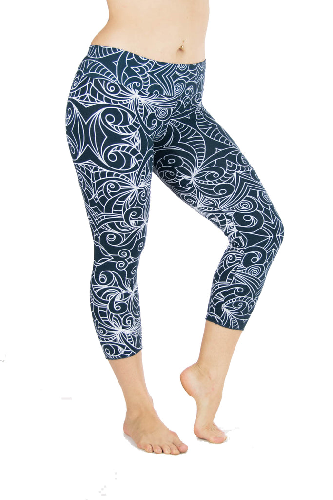 Malaya Yoga Tights with Tribal Swirl Print