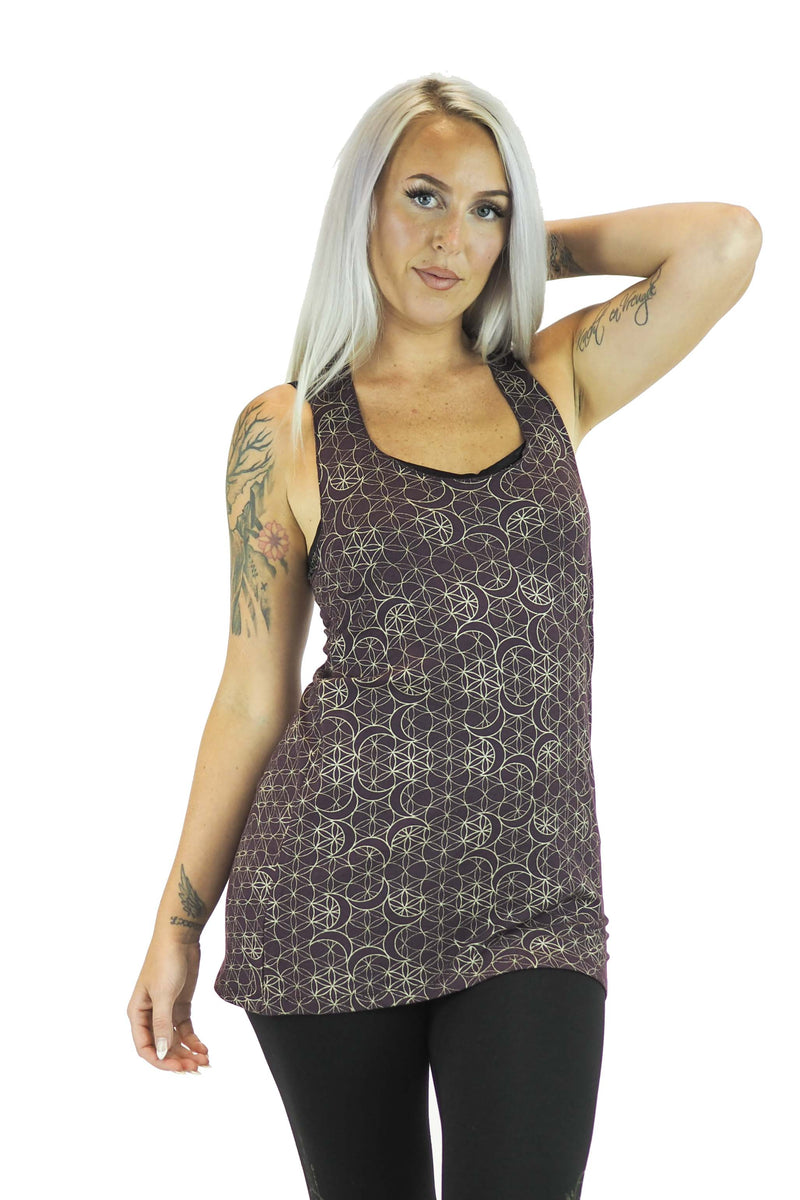 Taya Twisted Tunic with Gold Chandra Print