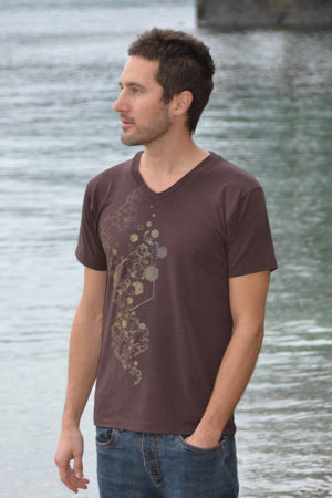 Indivar V-Neck Tee with Inkspoon Print