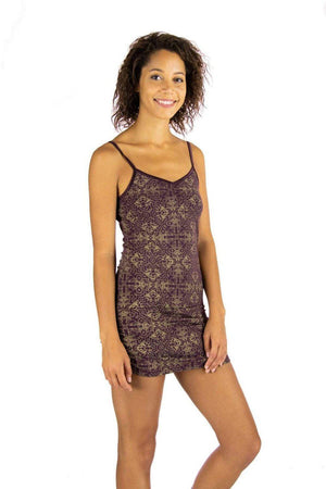 Anabelle Tank with Golden Jewel Lotus Print - Aubergine, S 1
