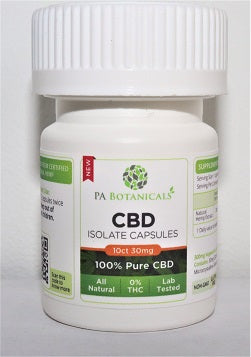 10 Count 25mg CBD Isolate Capsules (250mg)