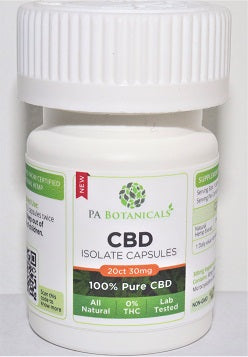 20 Count 25mg CBD Isolate Capsules (500mg) - P A Botanicals
