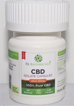 40 Count 25mg CBD Isolate Capsules (1000mg) - P A Botanicals