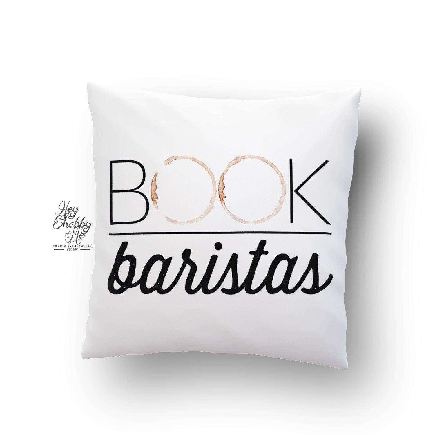 Book Baristas Coffee Stain Logo Pillow