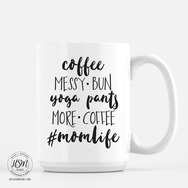 Coffee Messy Bun Yoga Pants More Coffee #Momlife