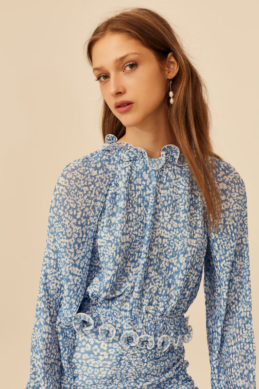 SO SETTLED TOP blue abstract floral