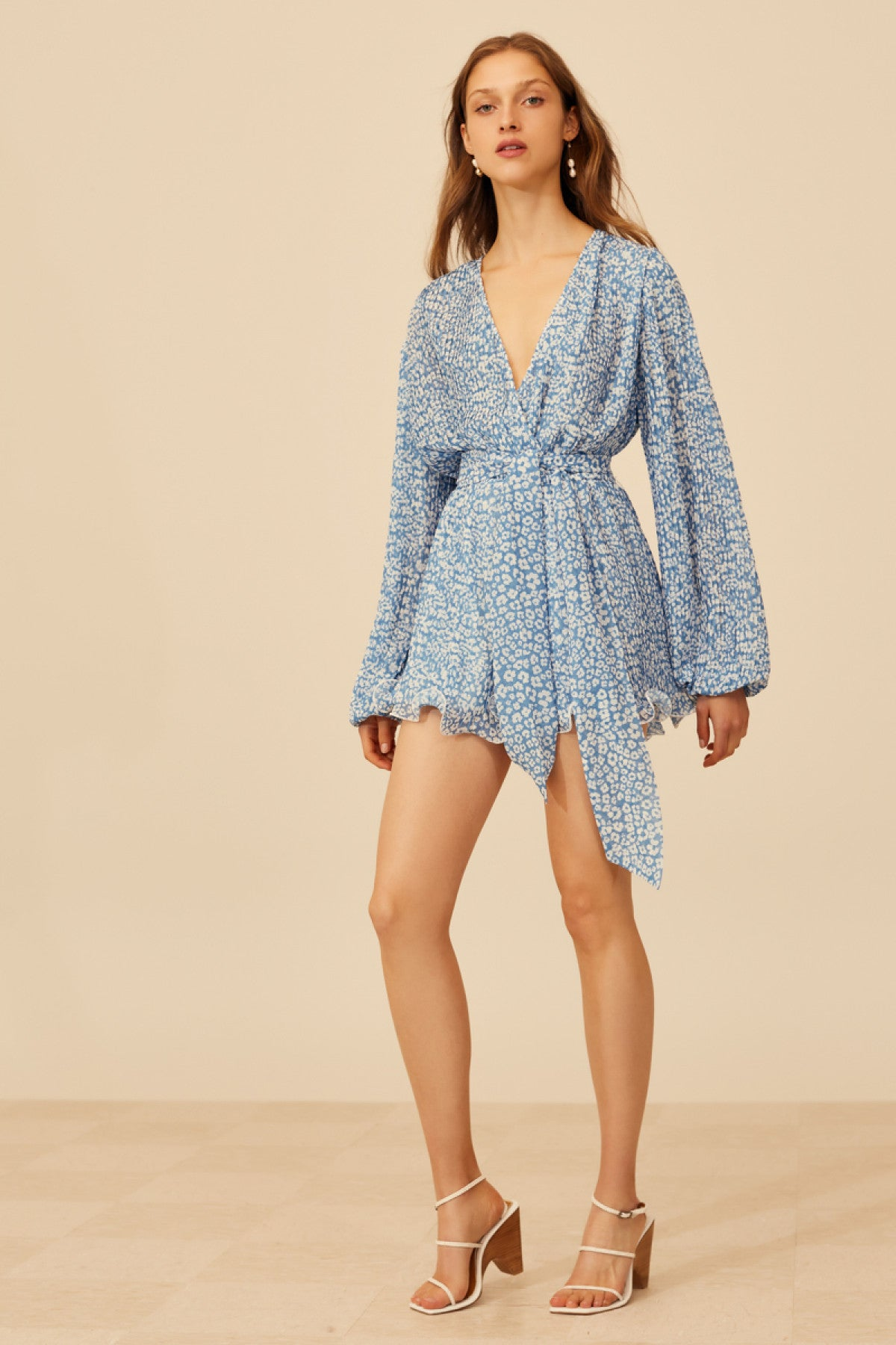 SO SETTLED PLAYSUIT blue abstract floral