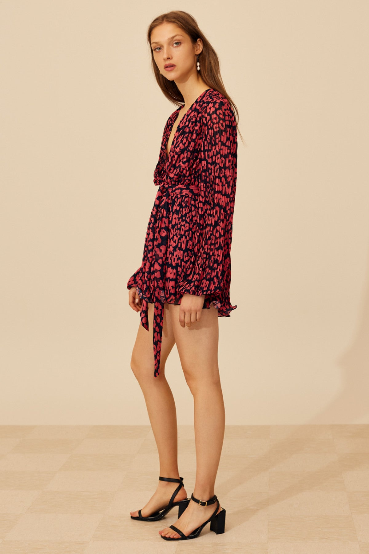 SO SETTLED PLAYSUIT hot pink abstract floral