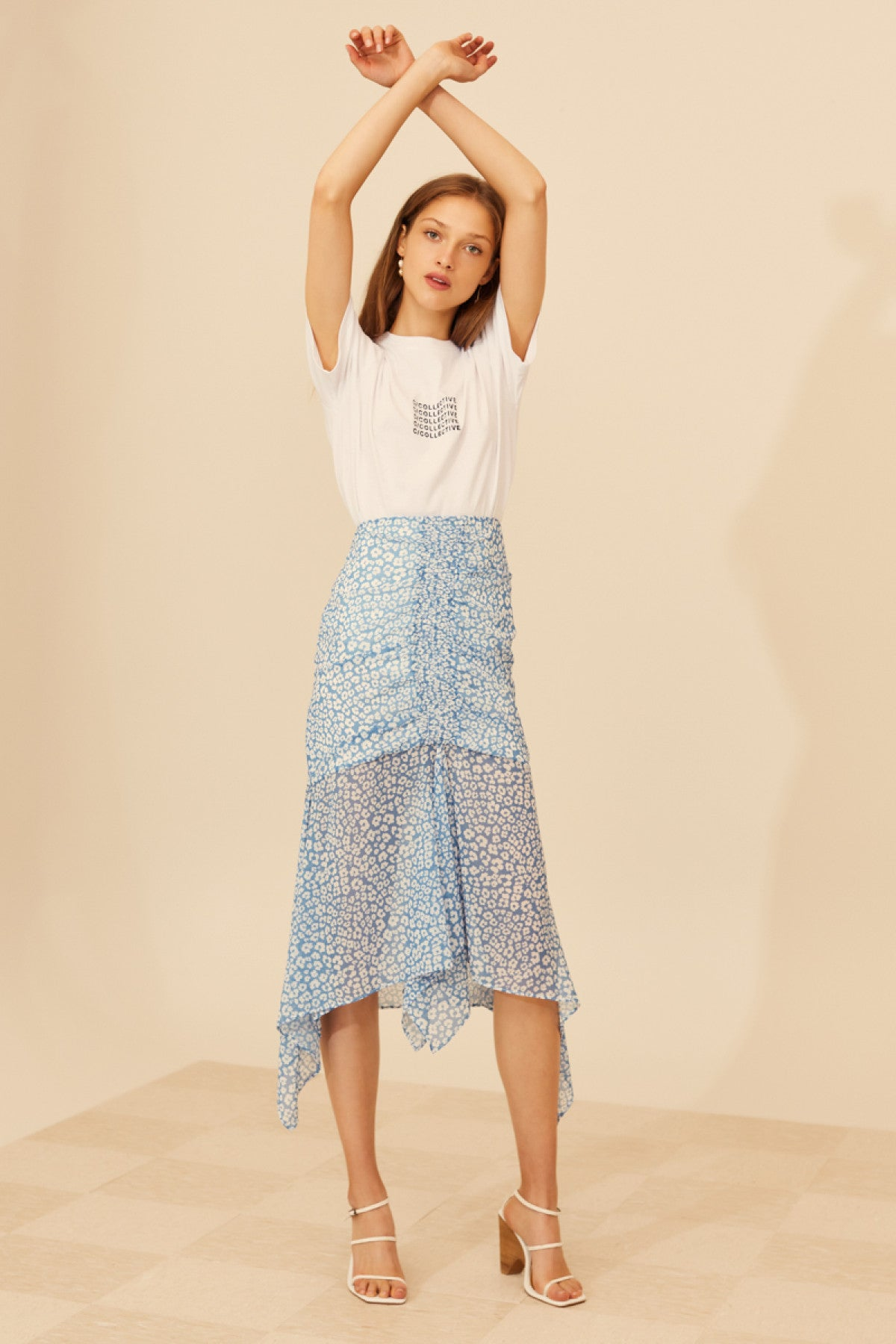 SO SETTLED SKIRT blue abstract floral