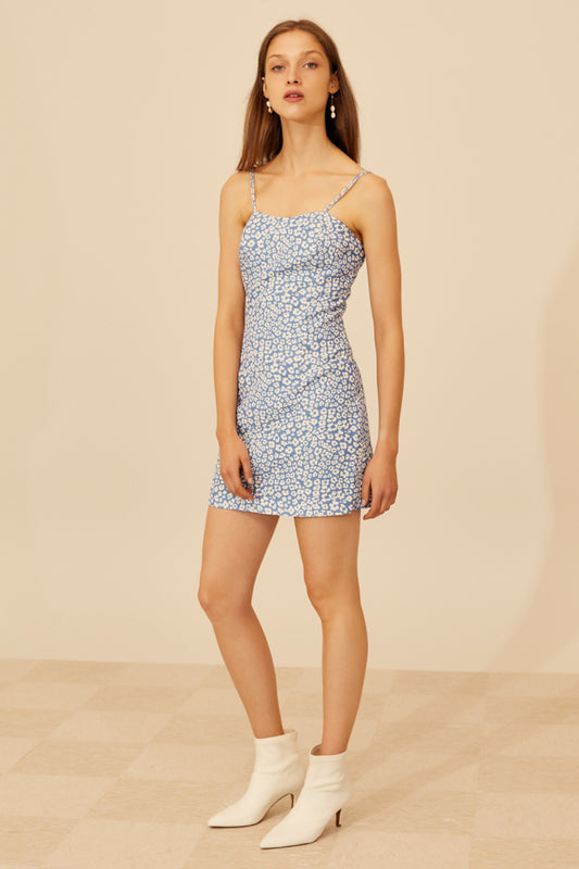 HEART OF ME DRESS blue abstract floral