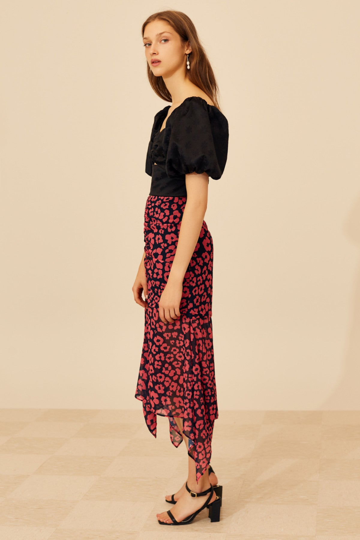 SO SETTLED SKIRT hot pink abstract floral