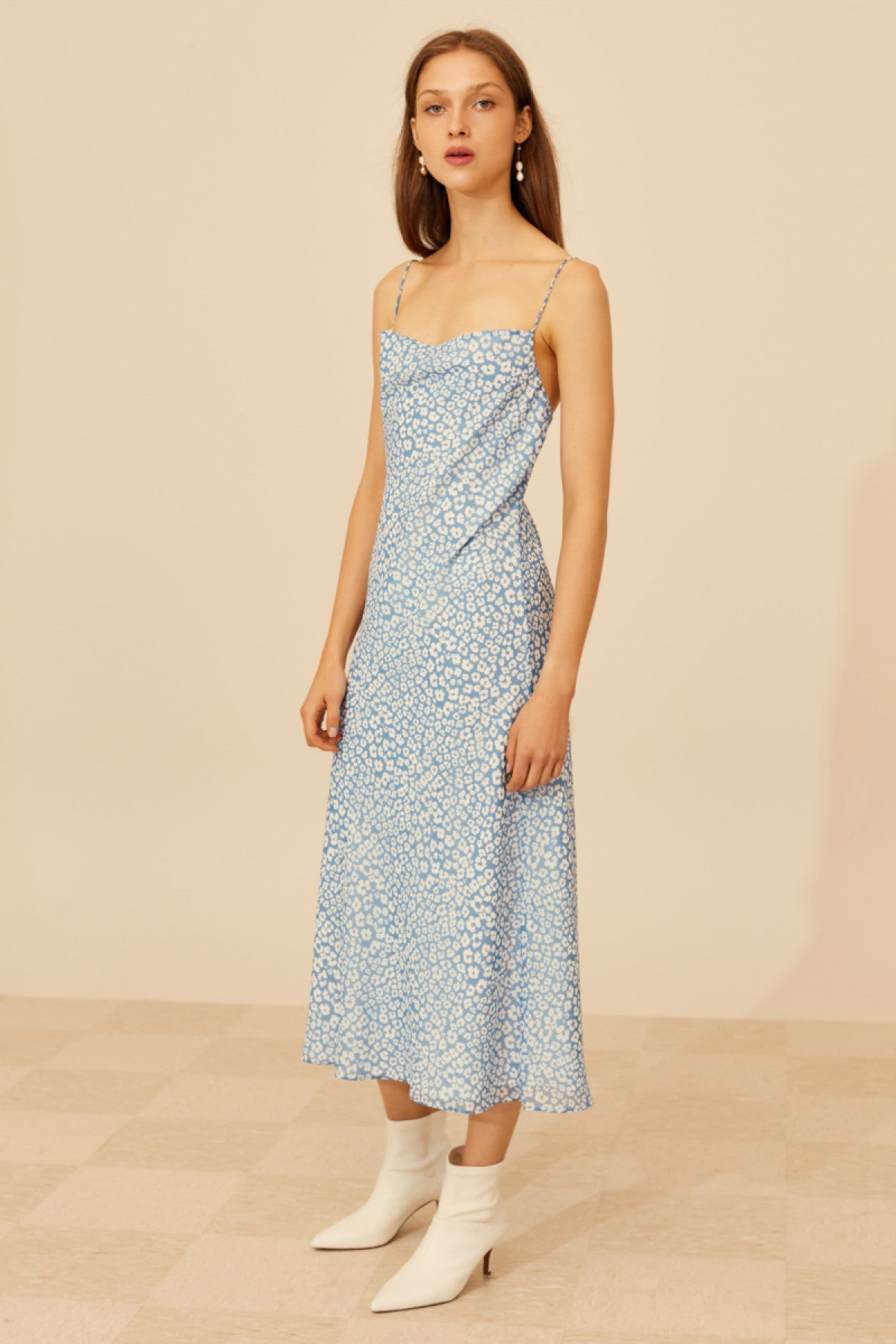 SO SETTLED DRESS blue abstract floral