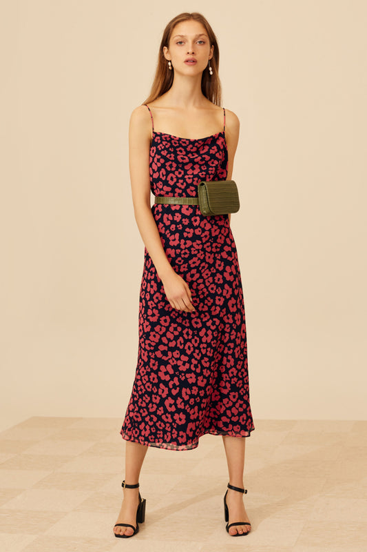 SO SETTLED DRESS hot pink abstract floral