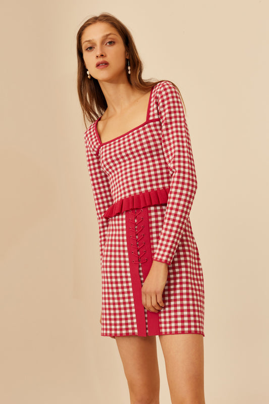 PLEASE DO KNIT SKIRT hot pink check