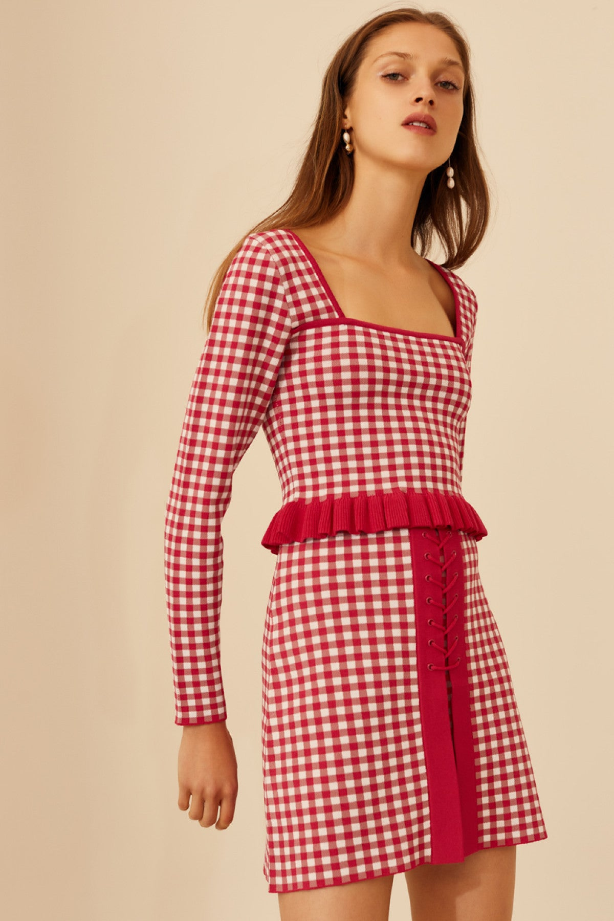 PLEASE DO LONG SLEEVE KNIT TOP hot pink check