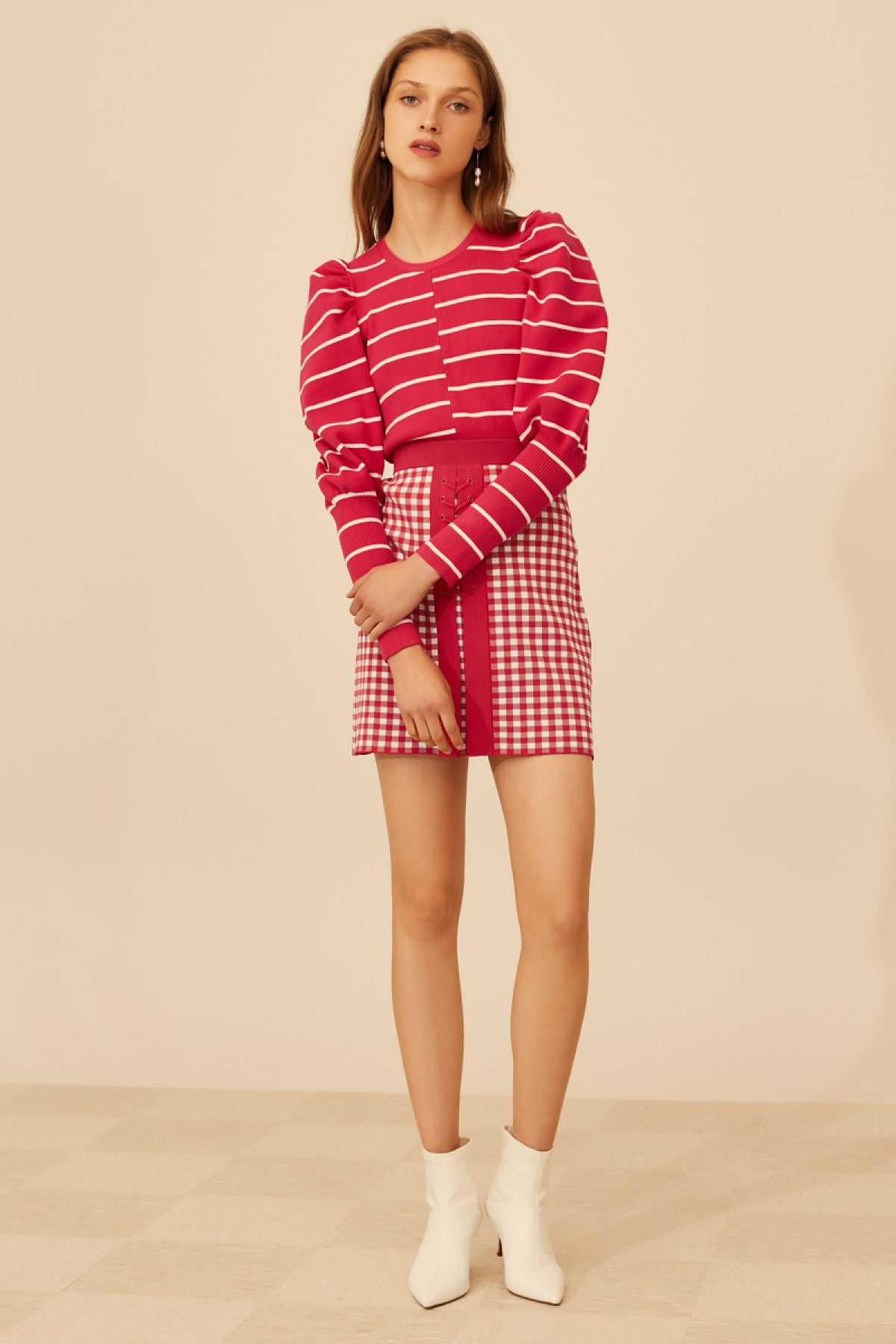 OBSERVE KNIT TOP hot pink stripe