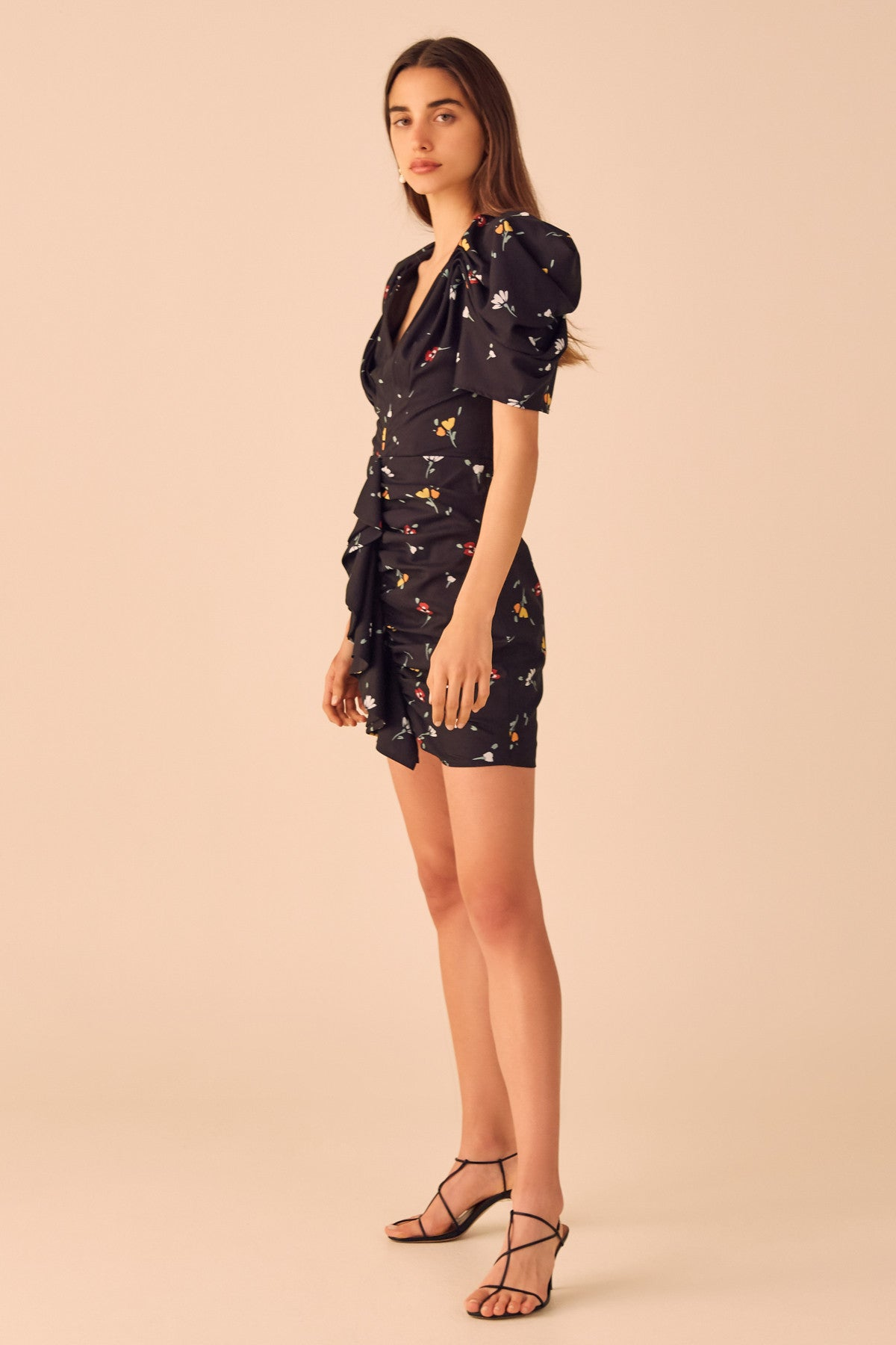 VICES SHORT SLEEVE DRESS black scattered floral
