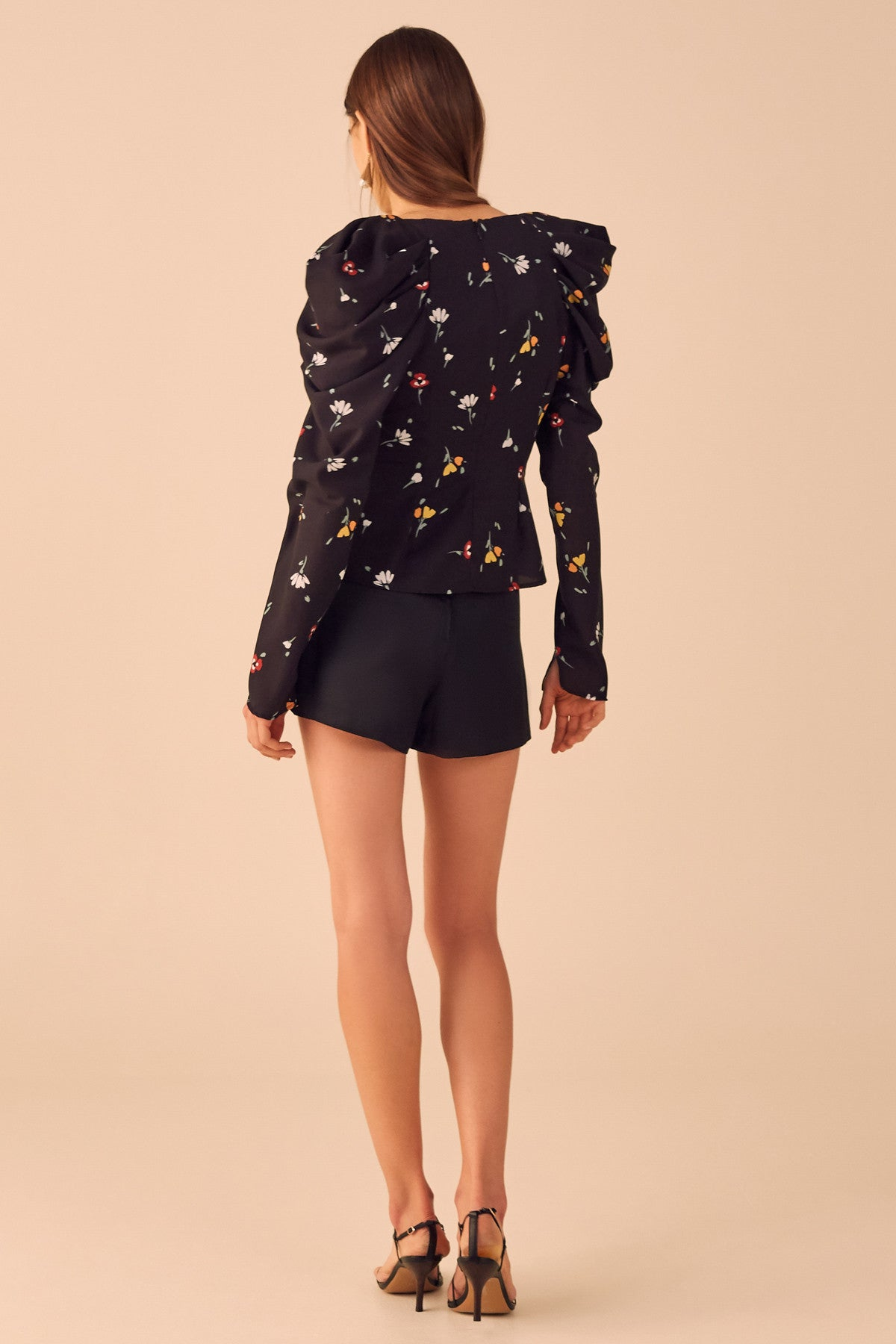 VICE LONG SLEEVE TOP black scattered floral