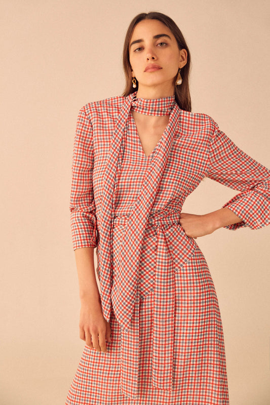 COUNTING ALL LONG SLEEVE MIDI DRESS cherry check d3e5f4cb63f