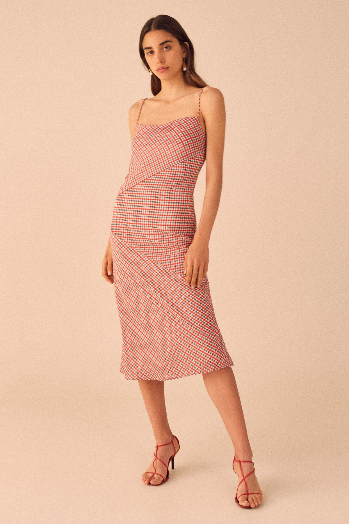COUNTING ALL SHORT SLEEVE DRESS cherry check