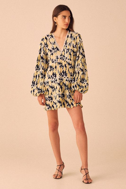 ENLIGHT LONG SLEEVE DRESS marigold floral