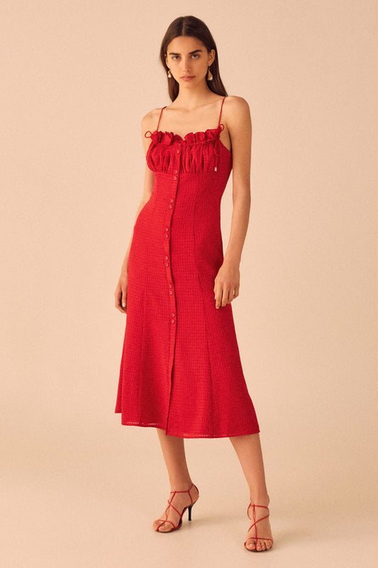 PERFECT PART MIDI DRESS cherry