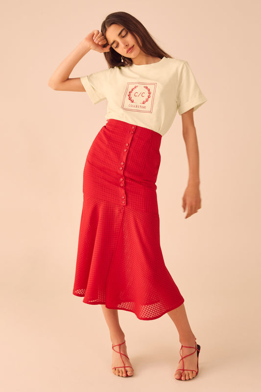 PERFECT PART SKIRT cherry