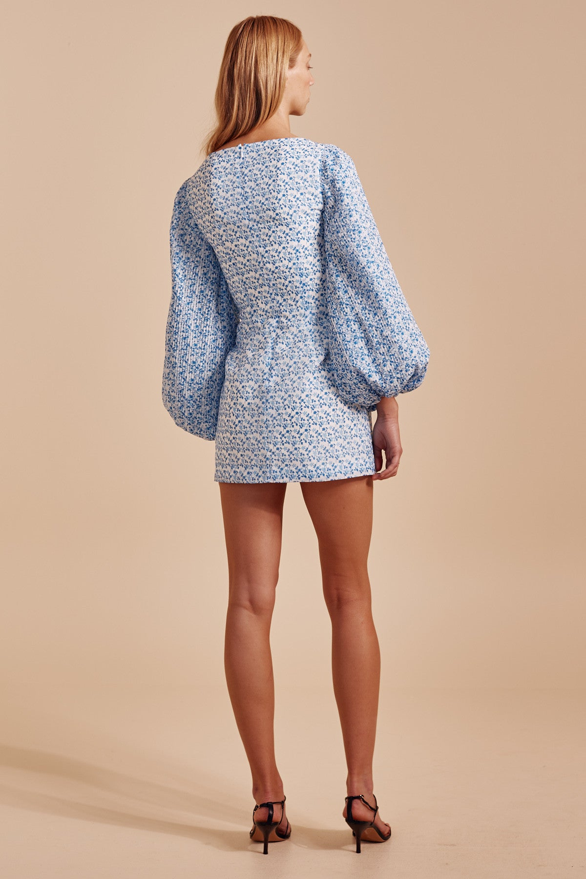 COME ACROSS LONG SLEEVE DRESS light blue floral