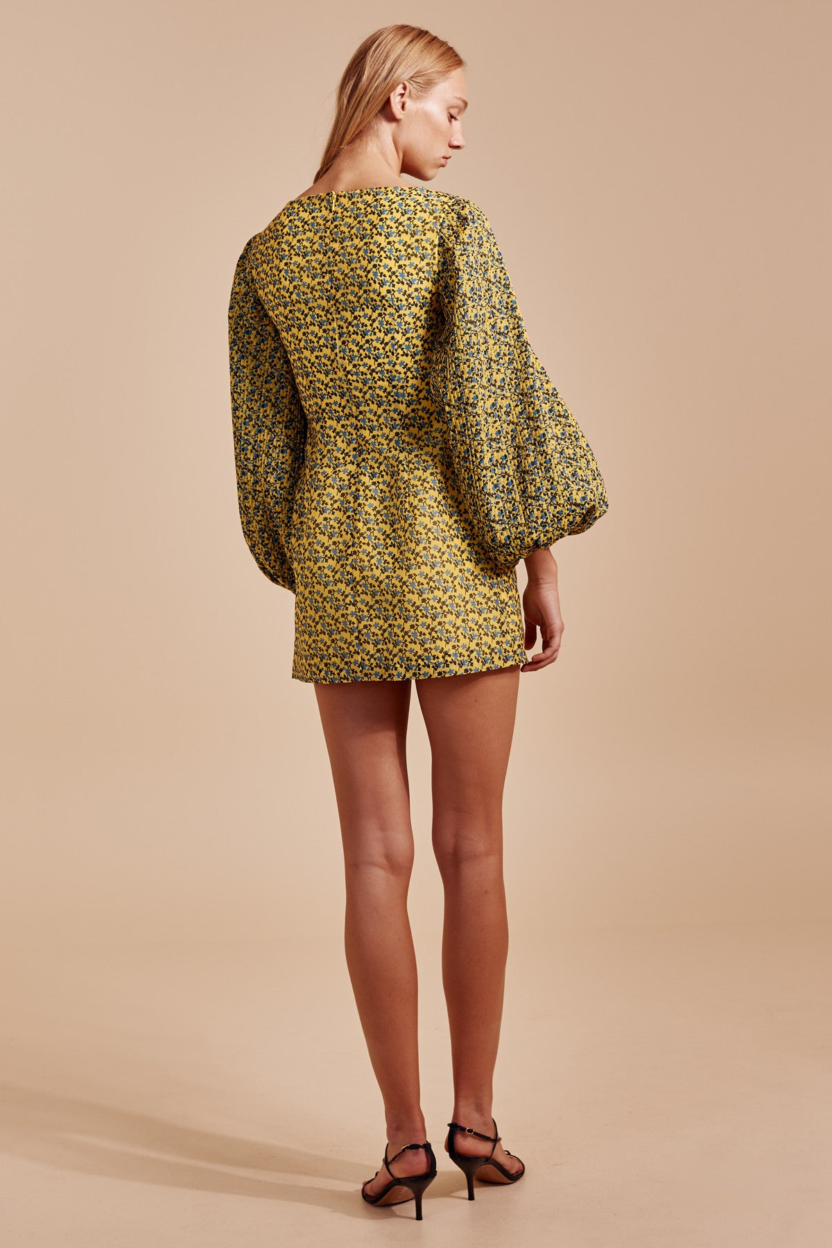 COME ACROSS LONG SLEEVE DRESS yellow floral