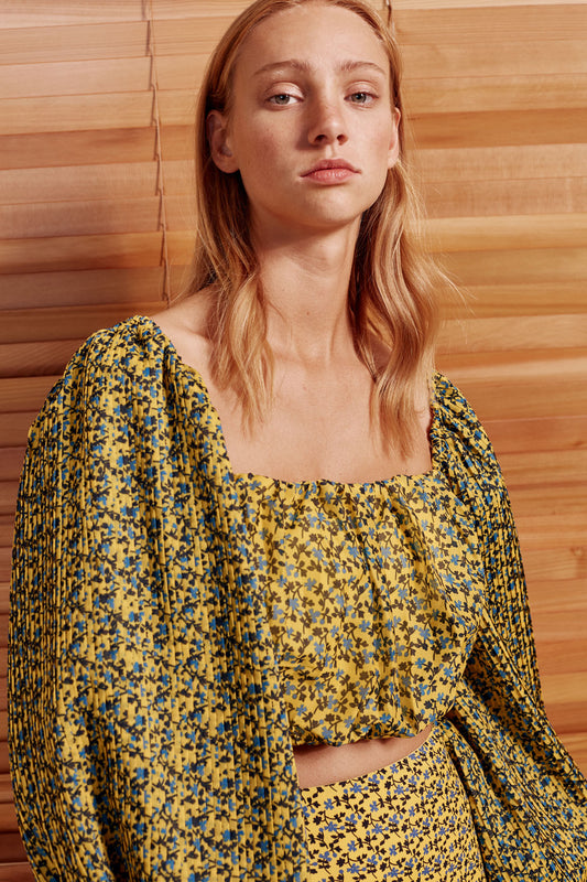 COME ACROSS TOP yellow floral