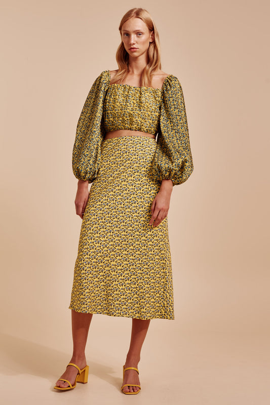 SANGUINE SKIRT yellow floral