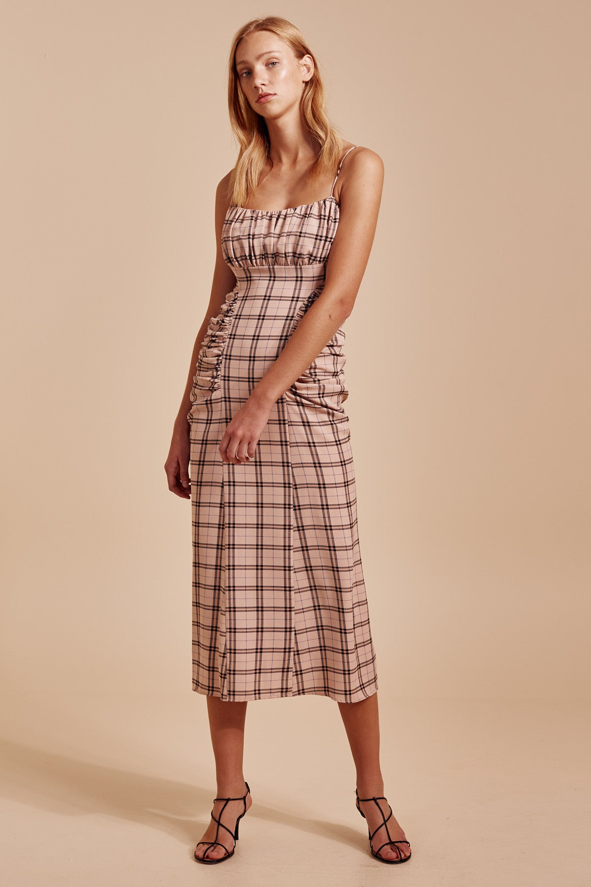 DEFINE SHORT SLEEVE DRESS nude check