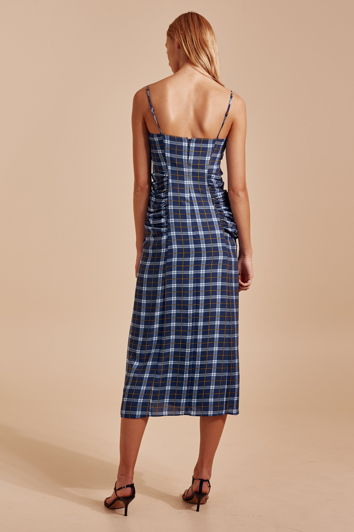 DEFINE SHORT SLEEVE DRESS blue check