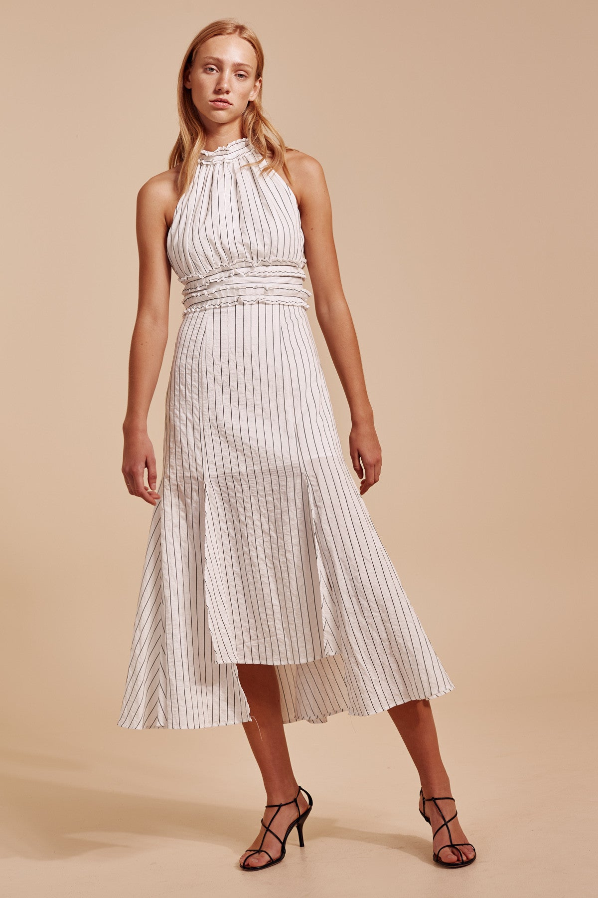 SUFFUSE MIDI DRESS ivory stripe