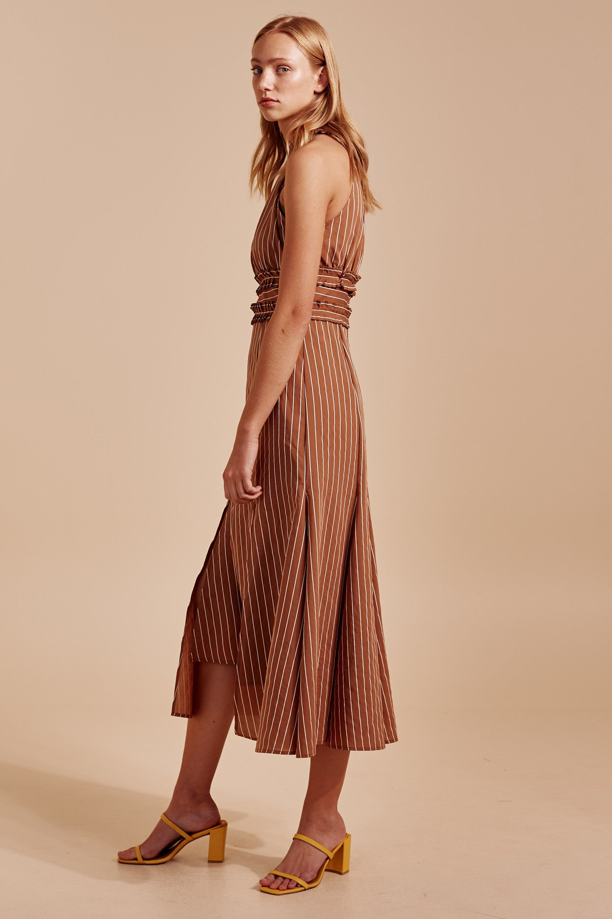 SUFFUSE MIDI DRESS tan stripe