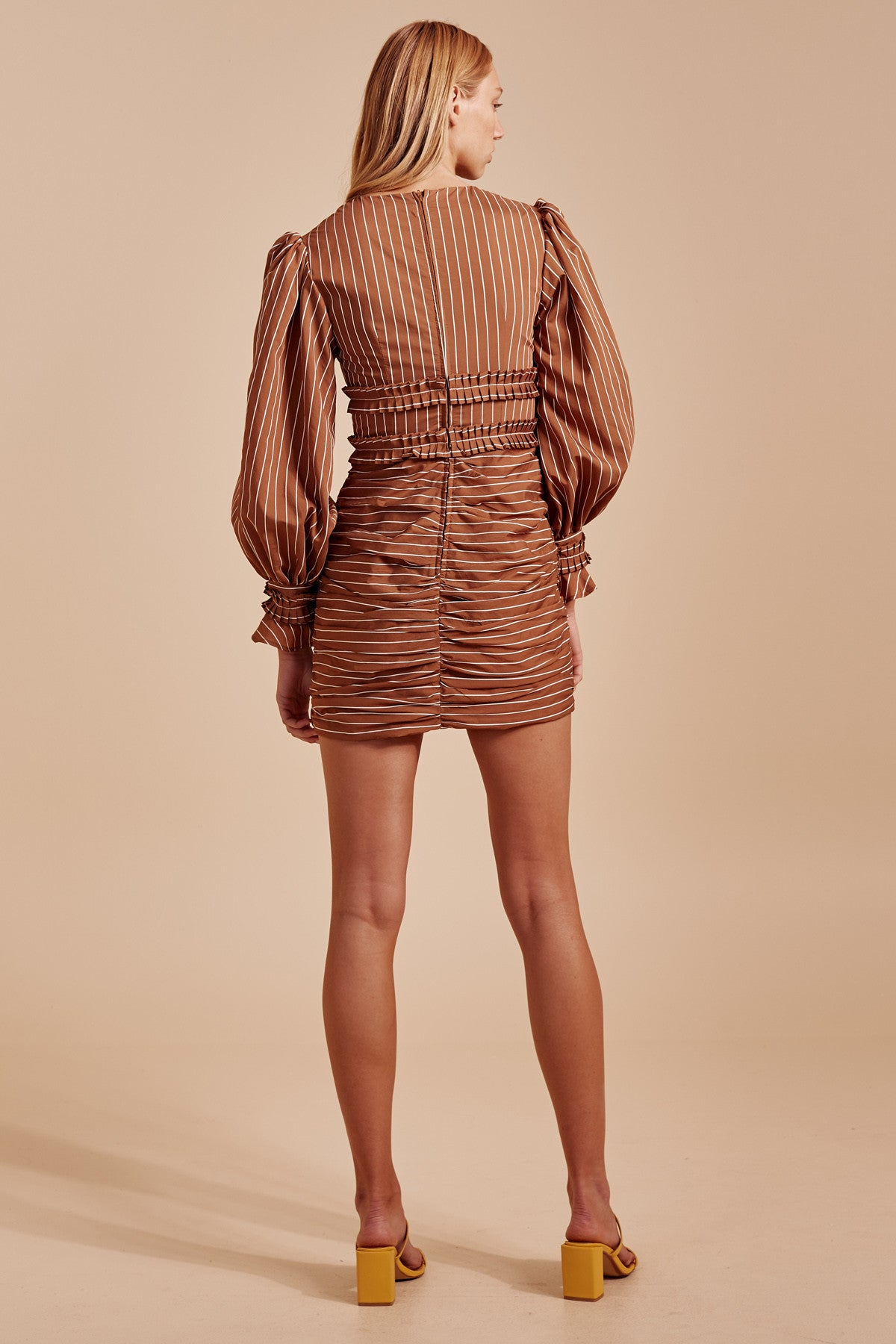 SUFFUSE MINI DRESS tan stripe