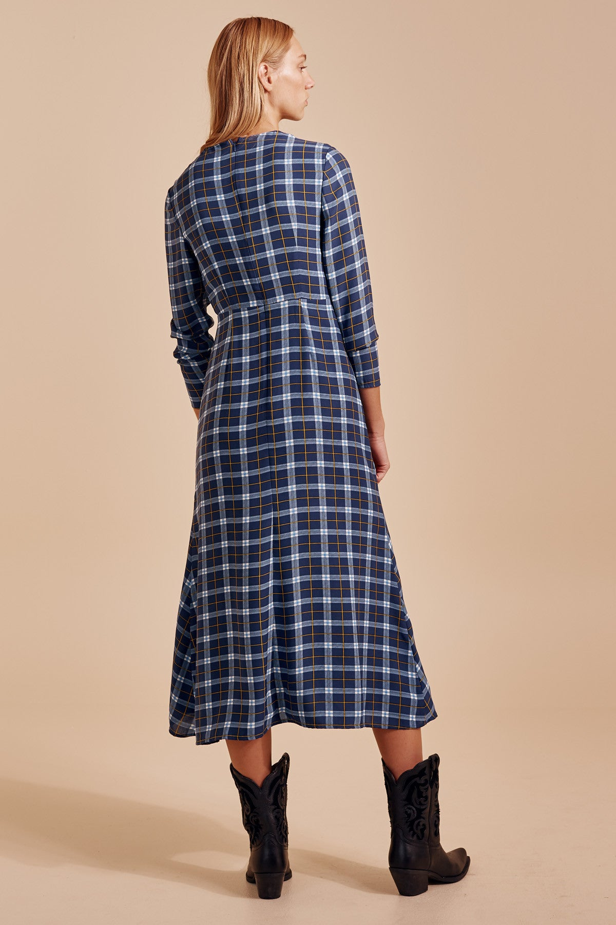 DEFINE LONG SLEEVE DRESS blue check