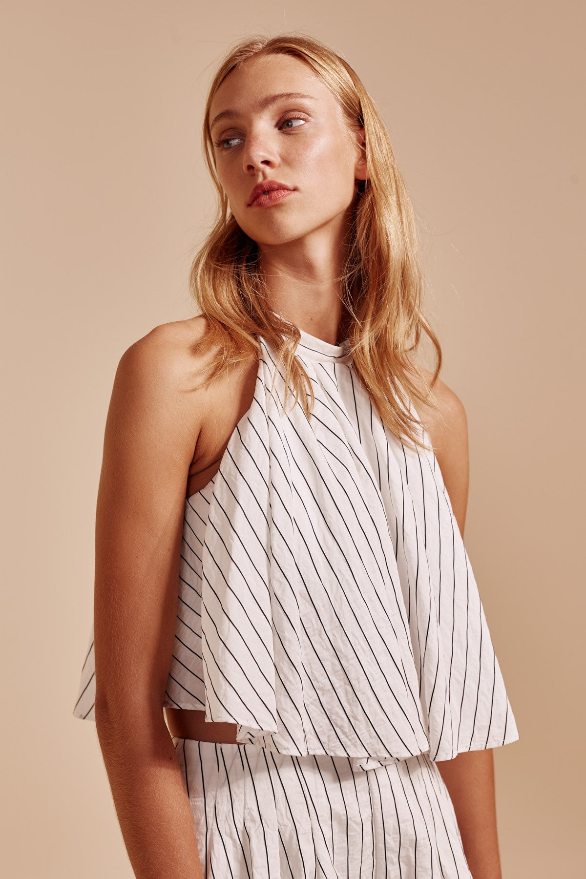 SUFFUSE TOP ivory stripe