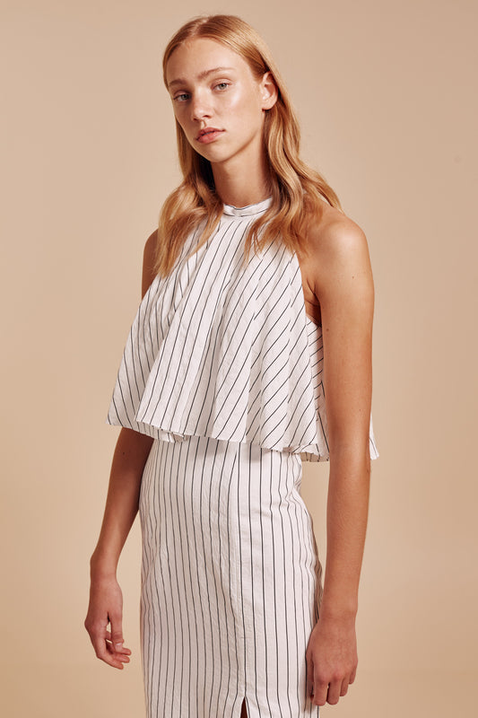 SUFFUSE GOWN ivory stripe