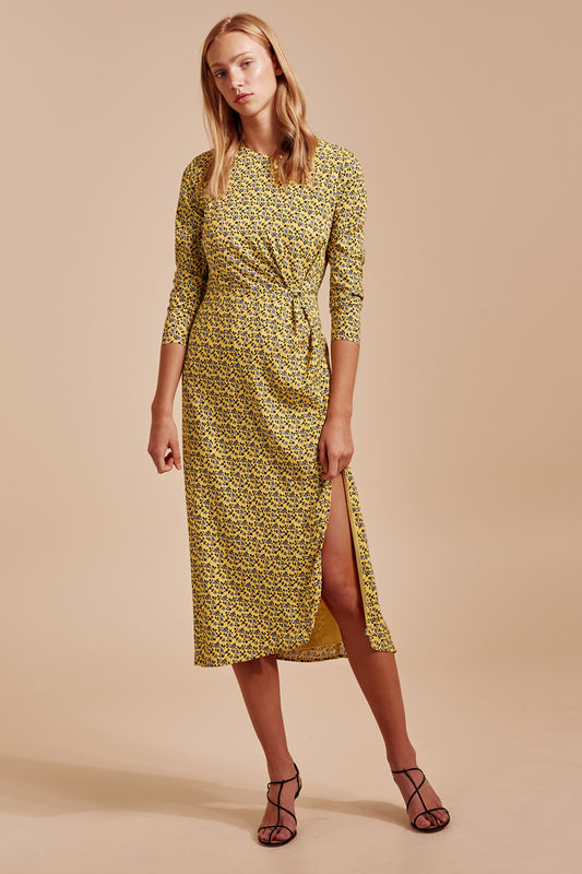 SANGUINE LONG SLEEVE DRESS yellow floral