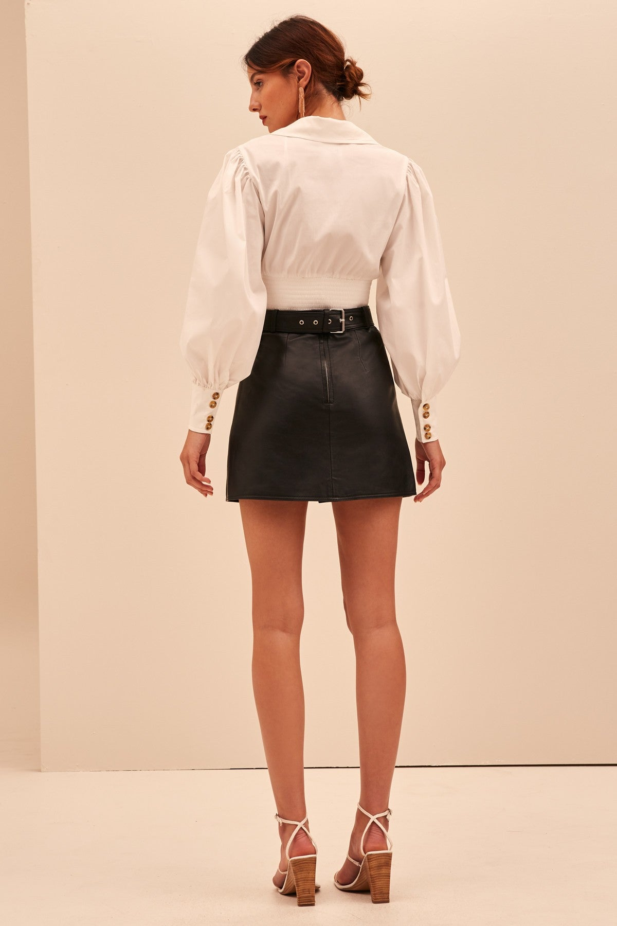 WHILE HERE LEATHER SKIRT black