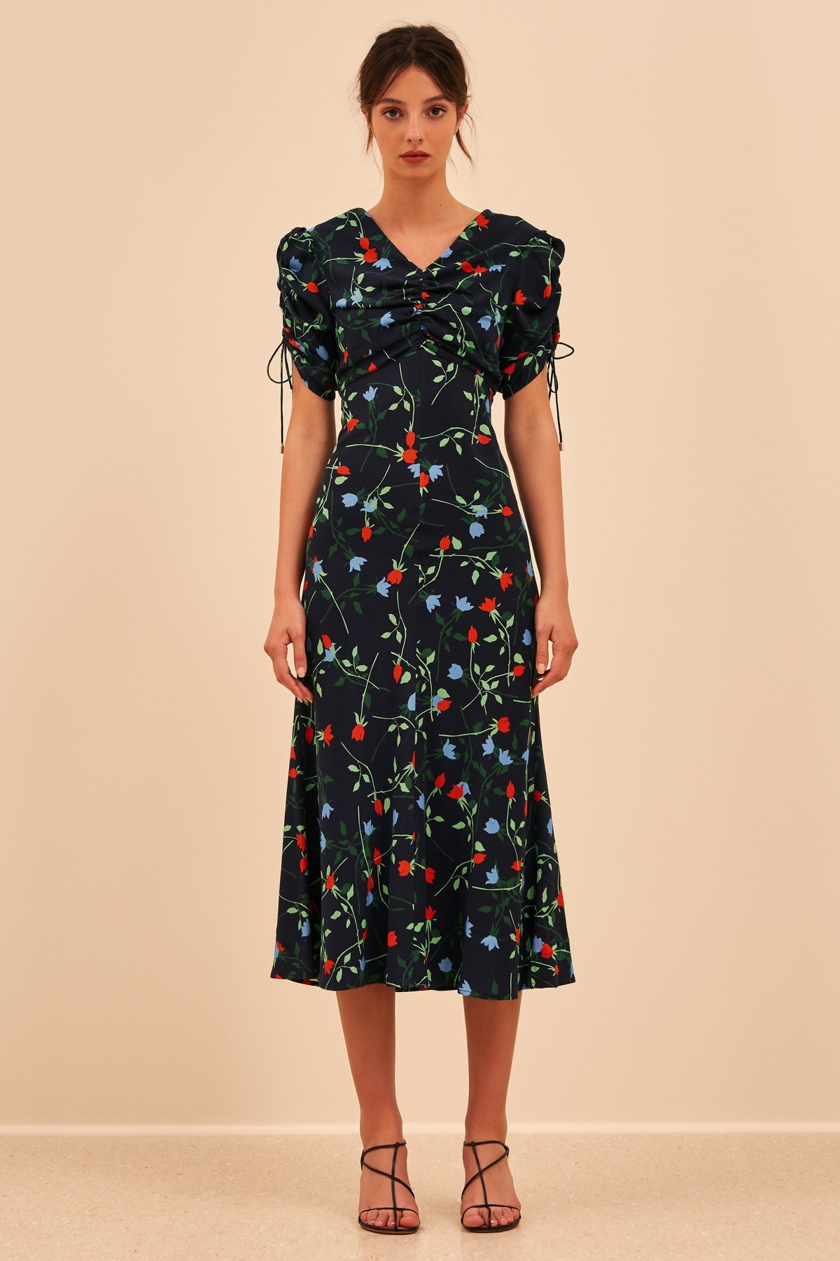 ENDED UP HERE MIDI DRESS navy floral